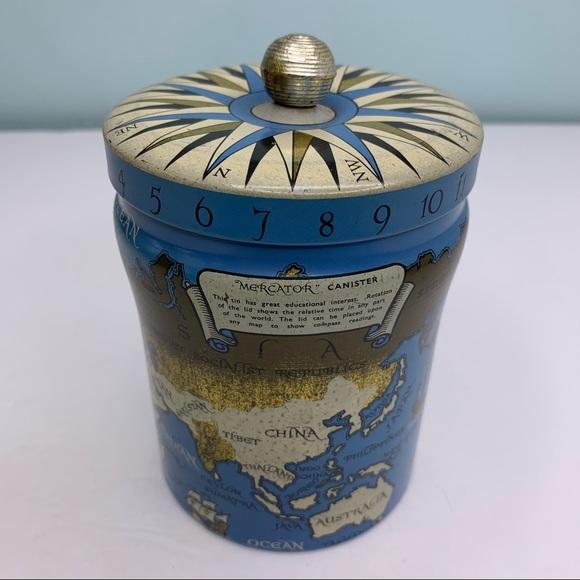 Vintage 1950 Old World Litho Mercator Canister Tin